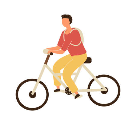 Man riding on bicycle. Vector male character in casual clothes and backpack on bike, healthy leisure lifestyle and eco vehicle, sports activity in park, flat cartoon isolated on white illustration 向量圖像