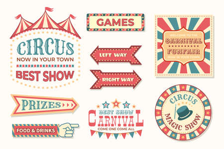 Circus vintage banner. Carnival retro signs. Colorful collection of stylized pointers. Signboards and welcome posters for festival. Old-fashioned billboards for fair cafe and festive show, vector set