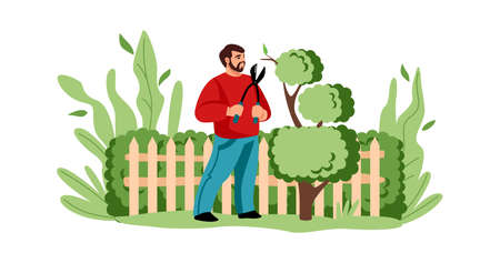 Agricultural worker cutting tree. Cartoon man decorative trimming branches with secateurs. Gardening concept. People care of shrub in garden. Character improves plants in yard. Vector illustration 向量圖像