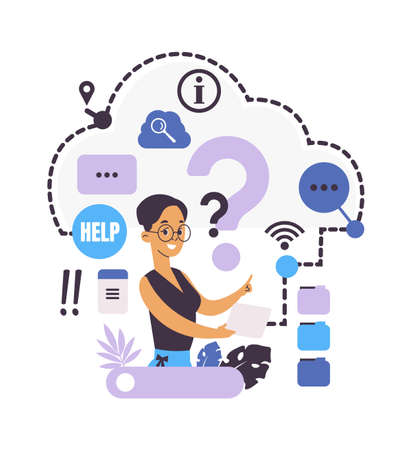 Ask questions. Online support service. Searching information in internet. Confused woman looking for solution, character writes to customer assistance. Help for clients and users, vector illustration 向量圖像