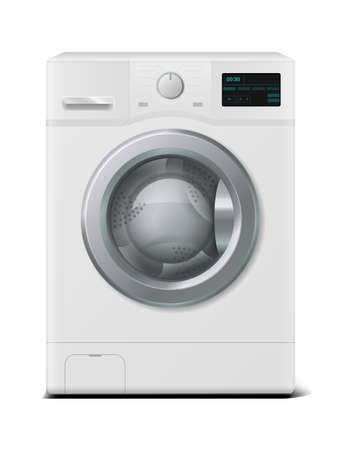 Washer. Realistic domestic electronic device. 3D household appliances for cleaning laundry at home. White automatic machine washes garment with water and detergent. Vector modern housework equipment