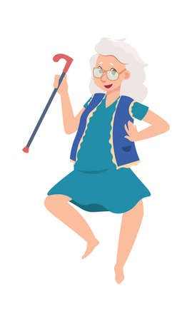 Funny happy senior female. Cartoon old dancing woman. Cheerful grandmother active moving. Gray-haired pensioner with walking cane. Adult character leisure pastime. Vector granny lifestyle illustration