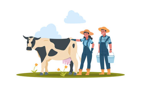 Farmers with cow. Cartoon characters doing farming job. Man and woman take care of domestic animal. Cute farm workers holding buckets with new milk. Cattle produce dairy products. Vector illustration