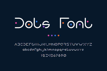 Dots font. Abstract alphabet with uppercase or lowercase letters for logo and poster headers. Collection of text symbols or numbers. Geometric typeface with colorful points. Vector typographic typeset 向量圖像