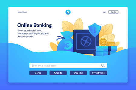Online banking landing page. Digital payment service. Interface for bank website. Web transactions or currency exchange, savings and investments. Vector colorful UI design with buttons and copy space 向量圖像