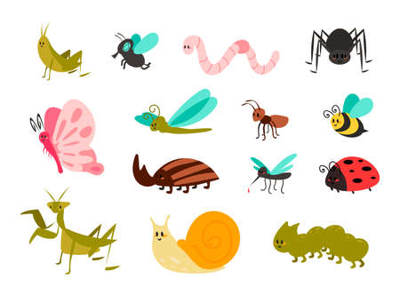 Cute bugs set. Cartoon colorful garden animals for kids illustration, funny children bug, worm and ladybug, little ant, spider and mosquito, butterfly and comic dragonfly, vector isolated collection 向量圖像