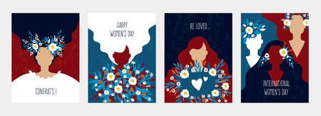 Abstract woman poster. Greeting cards for Womans Day. Minimal young female silhouettes, cute girls with long loose hair holding flower bouquets. Flat style colorful banners set, vector modern collage 向量圖像