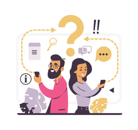 Customer support and forum question metaphor. FAQ concept. People write about problems to online assistance. Cute man and woman hold smartphones and interrogative sign. Vector consultative service