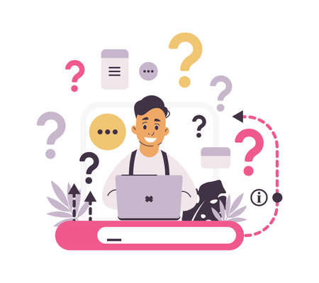 Customer support. FAQ concept. Chat for asking frequently questions. Helpful information and online communication. Web service with answers for clients and confused users. Vector internet helpdesk 向量圖像