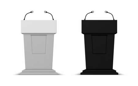 Debate stage with microphones. Vector 3D conference speech black and white tribune set, pedestal for lecture, award ceremony, press interview and political debate platform vector isolated illustration 向量圖像