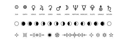 Moon phases icons. Black and white symbols of solar system planets or lunar cycle. Monochrome mystic occult outline isolated signs. Antique space objects names. Vector astrological silhouettes set 向量圖像