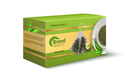 Packaging of green tea. Realistic product pack design. Brand identity template with copy space. Pyramid shaped bags for dried leaves. Premium quality merchandise. Vector square cardboard container