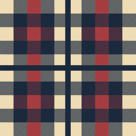 Plaid pattern. Classic Scottish cage seamless texture. Geometric checkered ornament. Repeated square print for clothing and blanket. Fashionable textile template, vector flannel or wool fabric sample 向量圖像