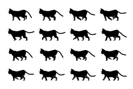 Cat walk animation. Domestic animal silhouette. Walking black kitten with yellow eyes. Side view of moving pet. Isolated of cartoon kitty, animation sequence of steps. Vector character motion