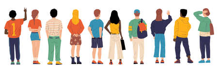 People from behind. Man and woman persons back, young cartoon characters standing together, crowd male and female from back side with bags vector group of boy and girl backside flat isolated set