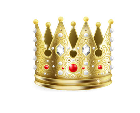 Golden crown. 3D royal. Realistic gold headdress decorated with rubies, glittering diamonds and pearls. Isolated coronation headgear for kings. Symbol of monarchy and royalty, vector jewelry