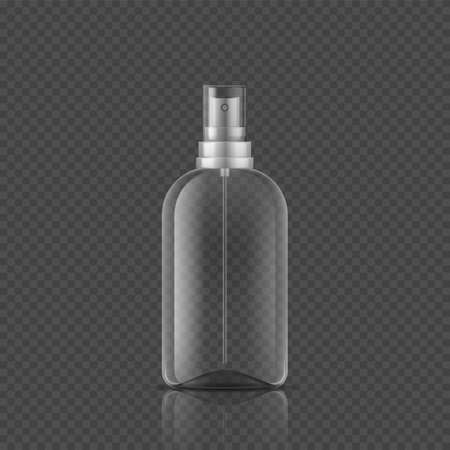 Spray bottle. Realistic empty package, 3D tube from glass or plastic and lid with atomizer. Packaging for cosmetic products and medical antiseptic on transparent background. Vector cylinder container