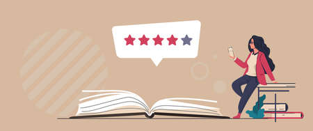Book review. Reader feedback. Online service for analysis and comments about publications. Literature rating concept. People read and share opinions about stories or novels. Vector literary critic 向量圖像