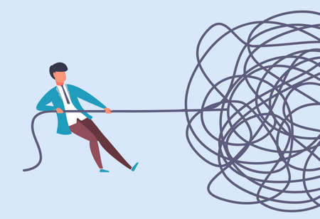 Businessman pulls rope. Complex problem solving concept. Rationally find start at challenge analysis. Complicated situation. Cartoon man yanking on end of tangled cable. Vector metaphor illustration