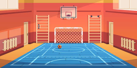 School gym. Gymnasium basketball court and campus soccer arena. Comfortable hall for kids active games and sport exercises. Empty equipped training room with gymnastic equipment. Vector illustration