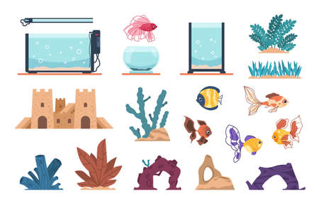 Aquarium elements. Cartoon full of water glass tank for fish and underwater plants, stones and seaweeds. Decoration aquaria kit with undersea castle, cute goldfish or algae. Vector set for pet owner 向量圖像