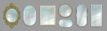 Realistic mirrors. 3D round and rectangular reflective surfaces. Modern or classic and decorative vintage frames. Framework with light bulbs. Vector interior furniture set on transparent background 向量圖像