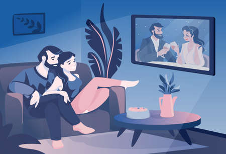 Couple watch TV. Cartoon family sitting on couch and watching television show, smiling husband and wife spend time together. Leisure pastime in evening. Comfortable living room interior. Vector scene