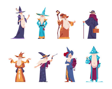 Cartoon wizard. Magician old characters with beard wear long robes and pointed hats. Senior wise sorcerers cast magical spells. Cheerful warlocks hold mystery magic tools. Vector medieval wizards set 向量圖像