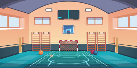 Cartoon school court. Gym with basketball basket and football goal or gymnastic equipment. Comfortable playground for playing active games and training. Vector gymnasium sport hall for kids workout