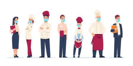 Restaurant stuff. Cartoon workers wear protective face masks. Isolated standing in row cafe managers and cookers, waitress or waiter. Career and occupation. Vector hospitable cute employees set