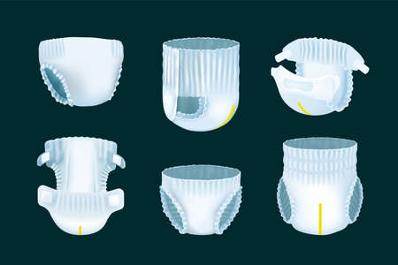 Realistic diaper. 3D childrens nappy pee absorption. View from different sides on soft disposable underpants for baby and urinary incontinence patient. Hygienic breathable filler. Vector isolated set