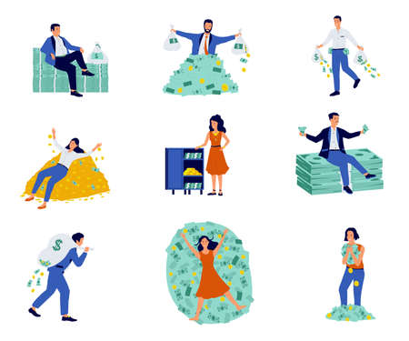 Rich people. Cartoon characters with mountains of cash and coins, isolated millionaire and billionaire set. Successful businessman with safes and bags full of money. Vector happy wealthy men and women