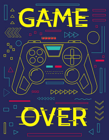 Game print. Minimal poster with controller and abstract geometric outline shapes. Game over banner. Blue contour figures and yellow lettering with glitch effect. Graffiti art design, vector gamepad 向量圖像