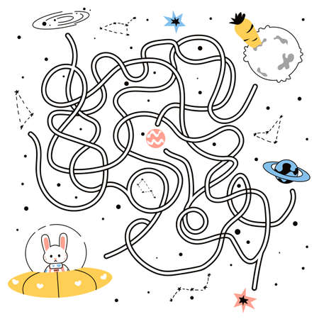 Maze game. Doodle tangled path of cute rabbit flying in space to alien planet. Funny cartoon hare in spaceship looking for carrot. Challenge for preschool children. Vector mockup of coloring book 向量圖像