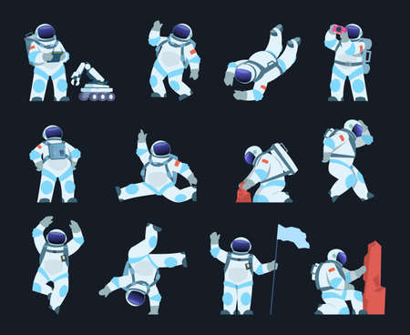 Astronaut. Cartoon spaceman in different poses. Isolated cosmic explorer wears spacesuit and helmet. Cute cosmonaut takes soil samples or explores surface with space robot. Vector spacewalk scenes set