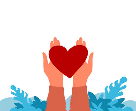 Hands holding heart. Charity and donation concept. Work of volunteers and philanthropy banner. Cartoon human arms giving red symbol of love or life. Help needy. Vector illustration with copy space