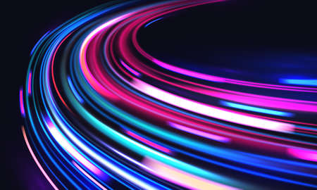 Car motion trails. Speed light streaks vector background with blurred fast moving light effect, blue purple colors on black. Racing cars dynamic flash effects city road with long exposure night lights