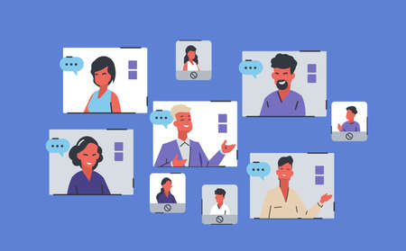 Online conference. Team working from home, people chatting, desk provides collective virtual chat using computer, business meeting videocall window on screen vector cartoon video conferencing concept