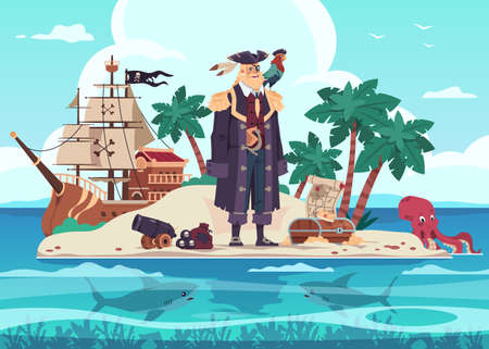 Pirate island. Cartoon kids adventure illustration with captain of marine brigands and treasure chest. Predatory sharks and octopus swim in tropical ocean. Vector robbers wooden ship with black flag
