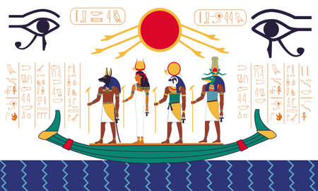 Egypt scene. Ancient mythology fresco with Egyptian religious divine characters and hieroglyphs. Gods sailing on boat on water. Old traditional art, colorful sacred mural. Vector historic illustration