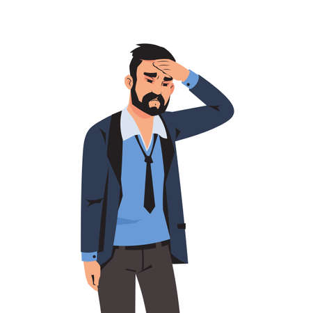 Sad man. Tired depressed cartoon person with headache, sick stressed office employee with problems or failures at work. Isolated gloomy businessman feels frustration and sorrow. Vector illustration