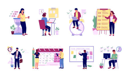 Organizing office work. Successful people planning work and scheduling. Effective time management concept. Cartoon workers write down priority goals and control timetable. Vector workflow optimization