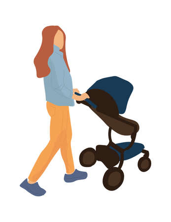 Trendy mother with baby carriage. Cartoon woman rolls toddler stroller. Isolated young female moves pram. Modern device for comfortable walk outdoors with little child. Vector simple illustration