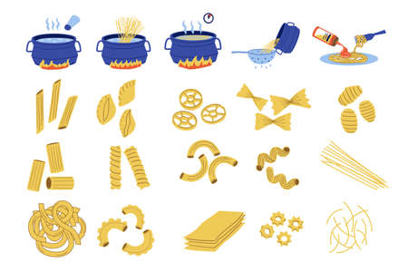 Pasta cook. Doodle recipe of spaghetti, steps cooking guide with boiling water and adding sauce. Traditional national Italian food. Types set of dough products. Vector hand drawn noodle and macaroni