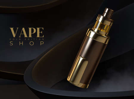 Vape advertising. Realistic electronic cigarette. 3D golden vaping device. Plastic container with liquid aromatic flavor. Black billboard of merchandise limited edition. Vector promotional banner