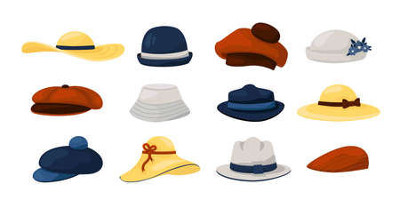 Hats. Men and women fashion vintage caps and panamas, classic ladies and gentlemen had wearing collection. Summer and autumn natural colors retro male and female accessory vector cartoon isolated set