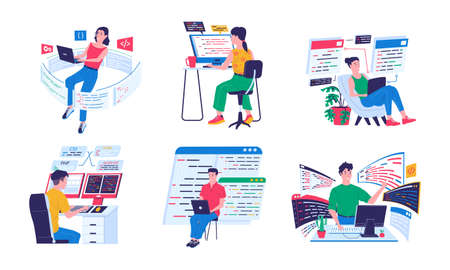Programmer and coders. Backend software engineers working with computers and laptops in comfortable conditions. Cyber specialists programming or coding. Vector cartoon developers writing digital code Vecteurs