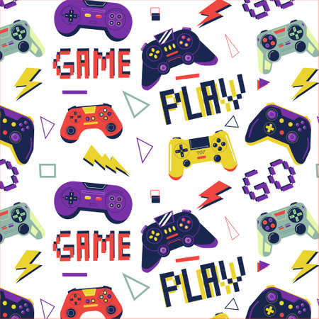 Gamer pattern. Seamless print with game controller for boys t-shirt, console video game graffiti with joystick. Bright colorful gamepad. Decor textile, wrapping paper wallpaper vector print or fabric 向量圖像