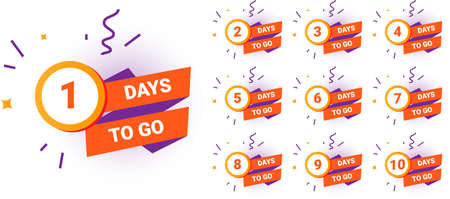 Days countdown. Count amount of time until end of limited promotion. Minimal sale banners or special offer badges set. Colorful isolated round signs with numbers and lettering. Vector discount sticker Vettoriali
