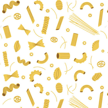 Pasta pattern. Seamless texture of traditional Italian macaroni, different homemade types of raw spaghetti. Decor textile, wrapping paper wallpaper vector print or fabric isolated on white background